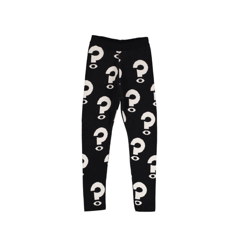 Knit Slim Pants - Black/Question Mark