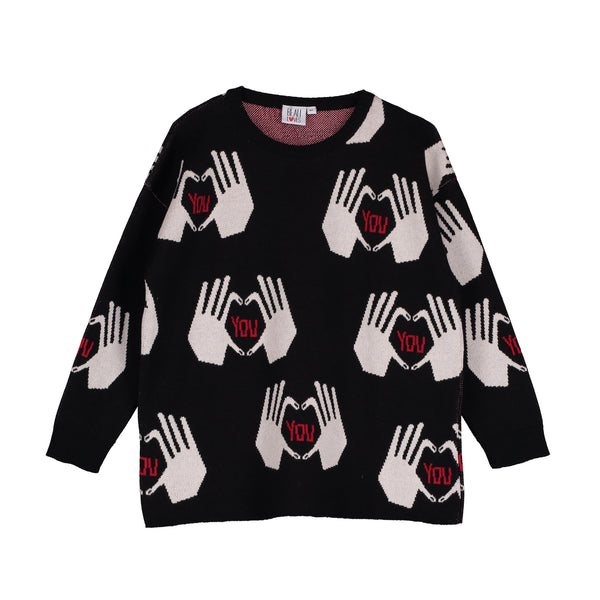 Knit Oversized Sweater - Black/Hands