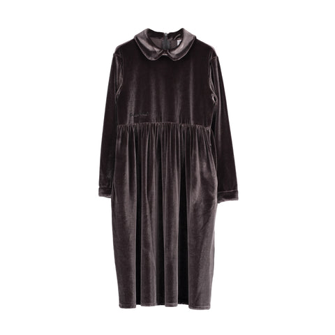 Velvet Margo Collar Dress - Slate Grey
