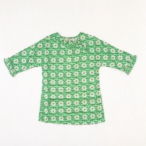 Wressle Woven Dress - Green Daisy Print