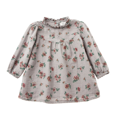 Flower Print Baby Dress - Grey