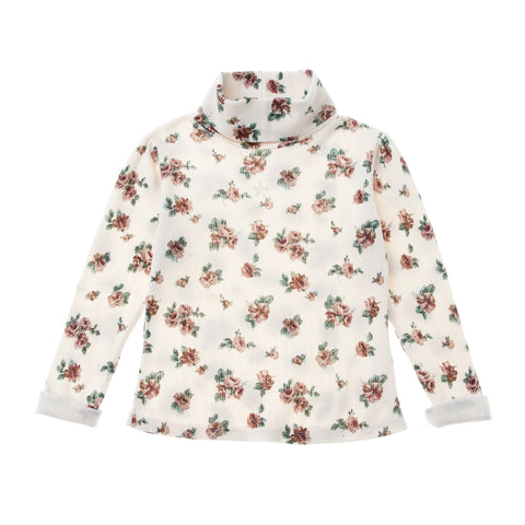 Flower Print Ribbed Turtleneck T-Shirt - Off White