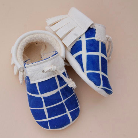 Petit Mai x Noé & Zoë Baby Leather Moccs - Swimming Pool