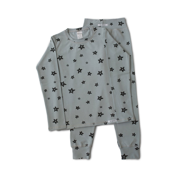 Star Long PJ Set - Whale Grey