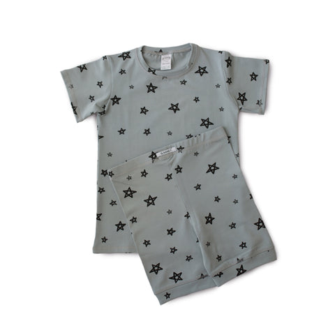 Star Shortie PJ Set - Whale Grey