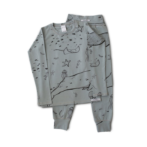 Under The Sea Long PJ Set - Whale Grey