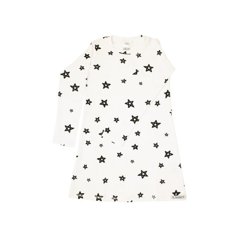 Star Longsleeve Nightie - White