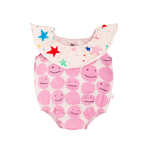 Collar Romper - Pinky Smiley