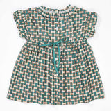 Cyclamen Baby Dress - Emerald GEO Print