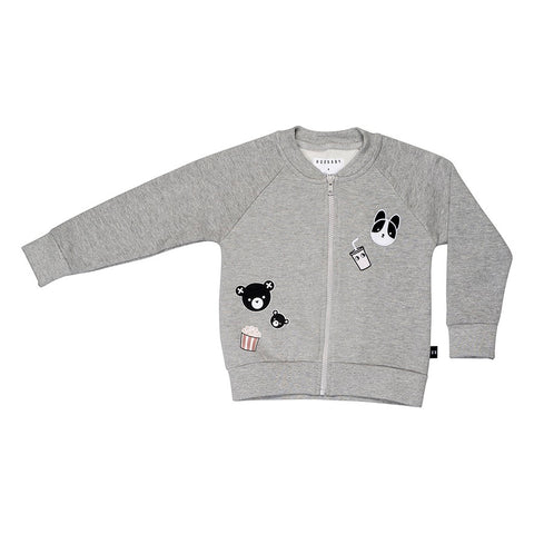 Movie Patch Sweat Jacket - Grey Marle