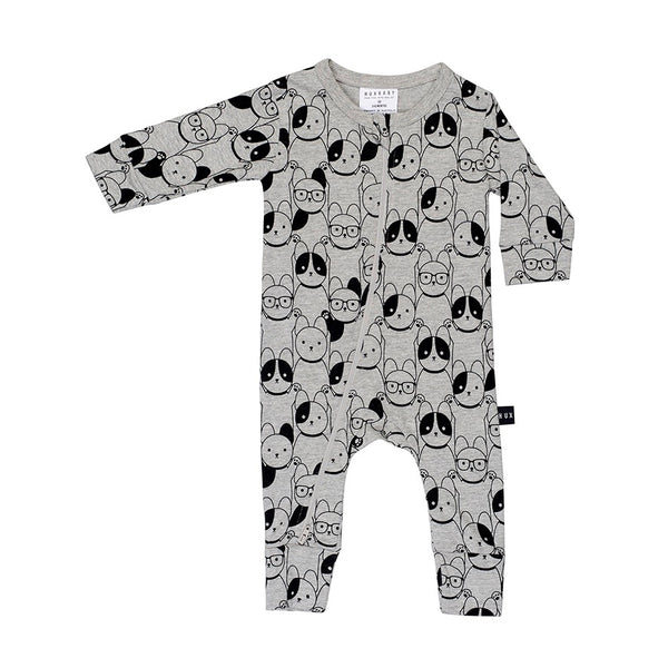 Puppy Love Zip Romper - Charcoal Slub