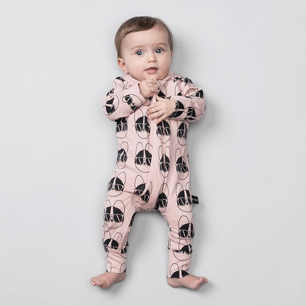 Frenchie Shades Zip Romper - Rose Dust