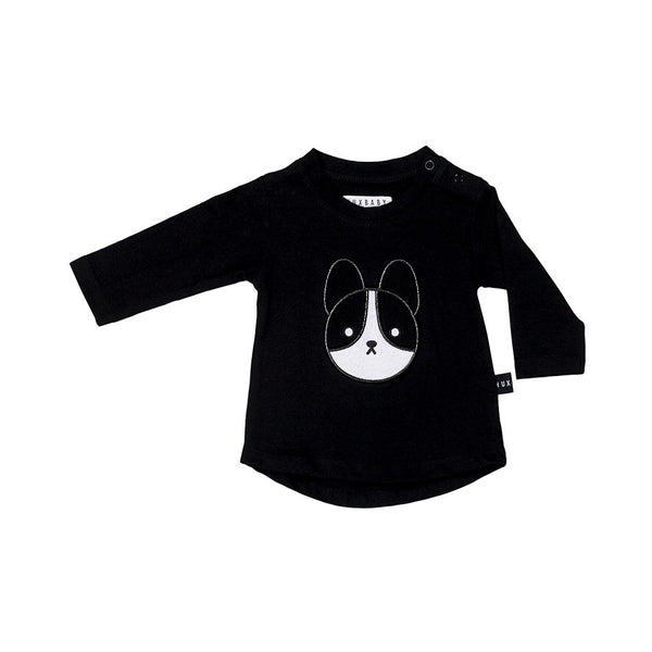 Frenchie Applique LS Top - Black