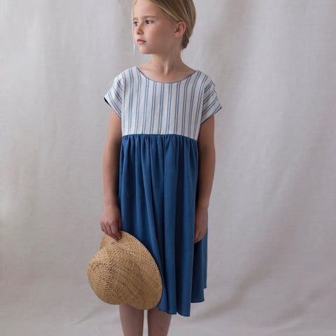 Blue Reversible Yolk Dress