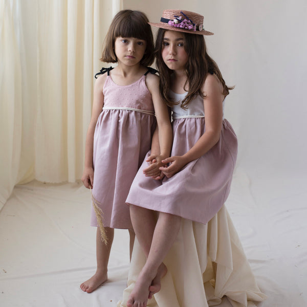 Dusty Pink Reversible Dress With Strapes