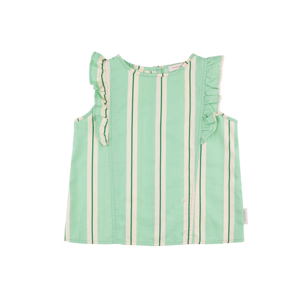 Retro Stripes Ruffles Blouse - D2