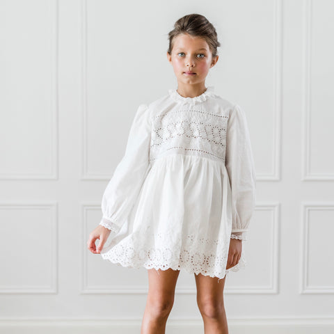 Embroidered Babydoll Dress - White