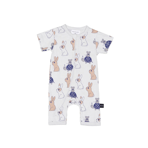 Tortoise and Hare Short Romper - Light Grey
