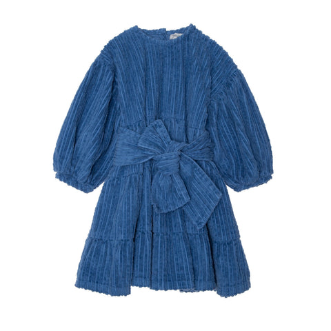 Bow Corduroy Dress - Blue