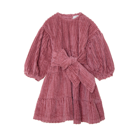 Bow Corduroy Dress - Plum