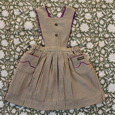 Apron Dress with Piping Check Fabric