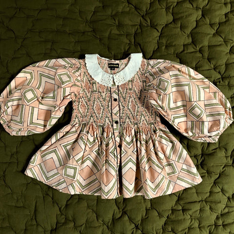 Smocks Balloon Blouse - Tile Print