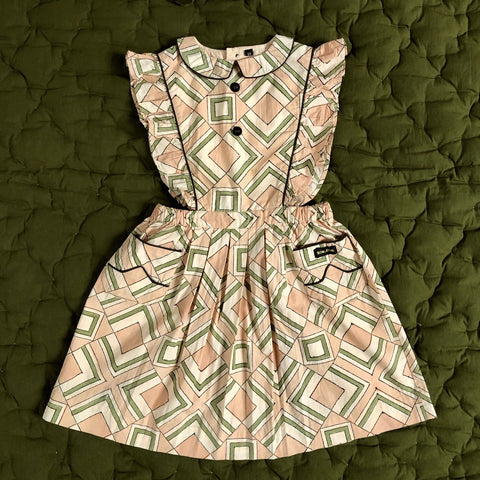 Apron Dress with Piping Tile Print