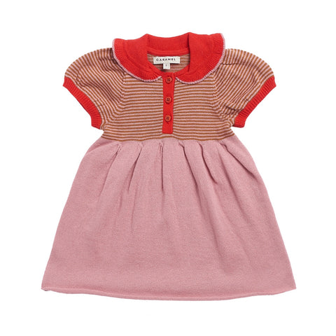 Portobello Knitted Baby Dress - Pink Stripe