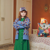 Multicolor Racoon Kids Cardigan - Blue