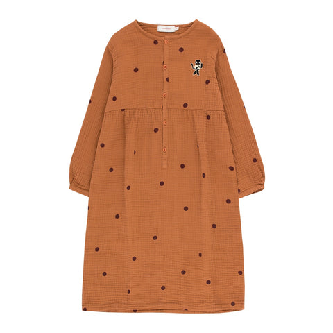 Dots Cat Dress - Brown / Aubergine