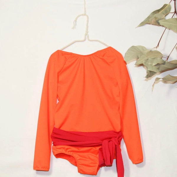 Long Sleeve Cala Swimsuit - Orange