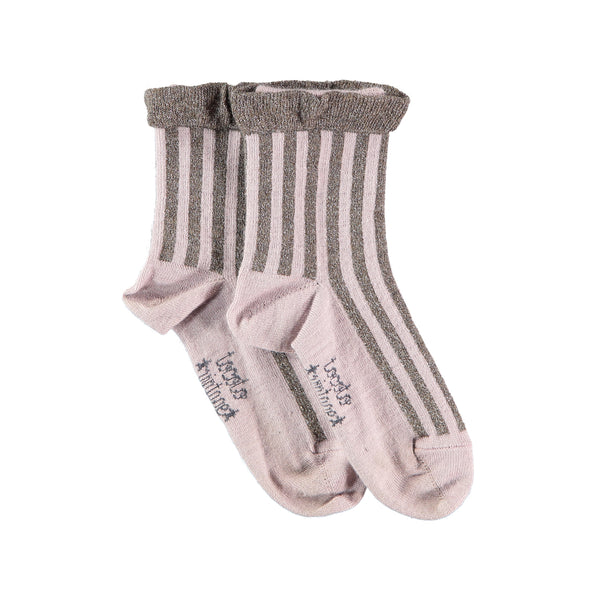Lurex Stripes Short Socks - Tann