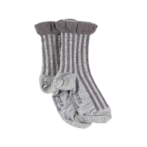 Lurex Stripes Short Socks - Dark Grey
