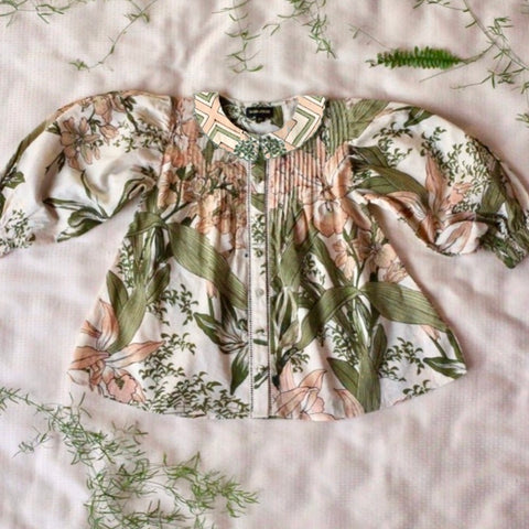 Madeleine Blouse - Orchid Print