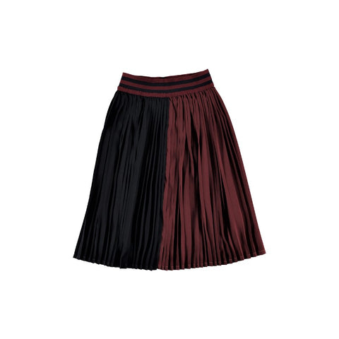 F02 Skirt - Russet Navy Pleated