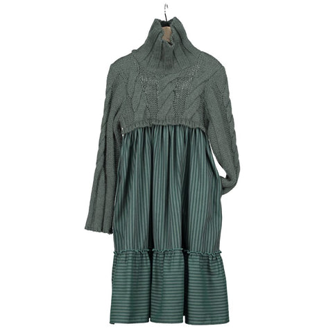 V01 Dress -  Green Stripe Green Wool