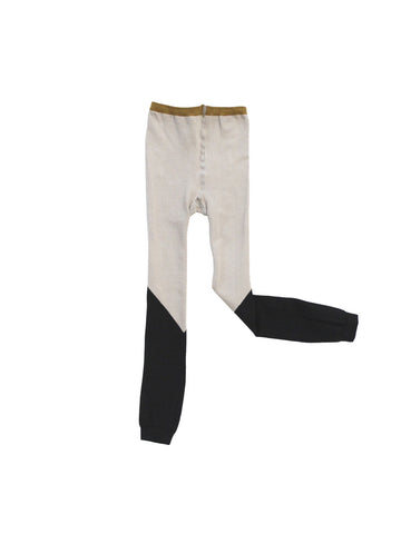 Color Block Leggings - Beige/Black