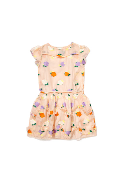 Carola Party Dress - Pale Pink Flower Fil Coupe