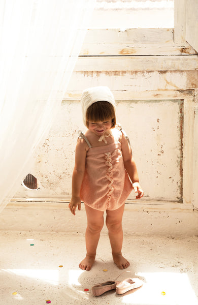 Gathered Romper Suit - Pink