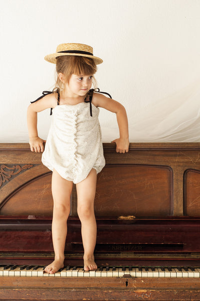 Gathered Romper Suit - Grey