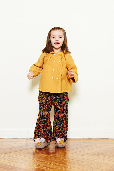 Double Button Blouse - Mustard