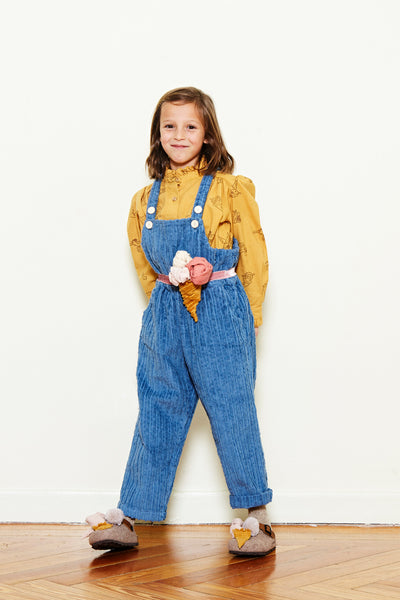 Corduroy Button Overall - Blue