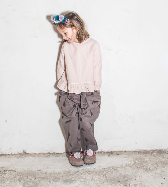 Folk Cross Blouse - Pink Grey
