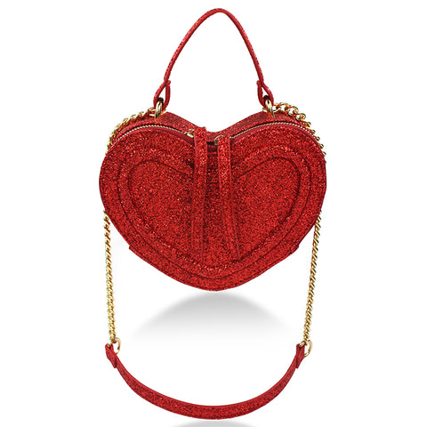 Glitter Heart Bag - Red