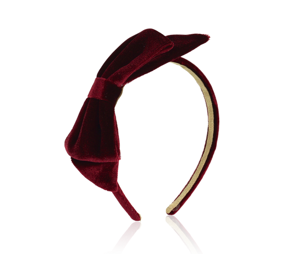 Velvet Bow Headband - Burgundy