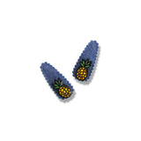 Mini Pineapple Denim Snap Clip - 2 Pairs