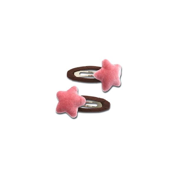 Velvet Star Snap Clips - Pink