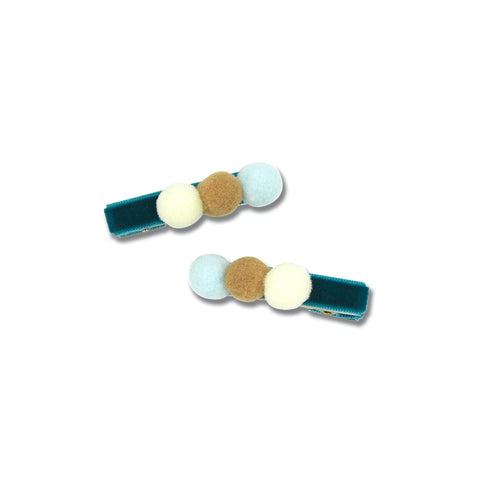 3 Pom Duck Clip - Ivory/Beige/Blue