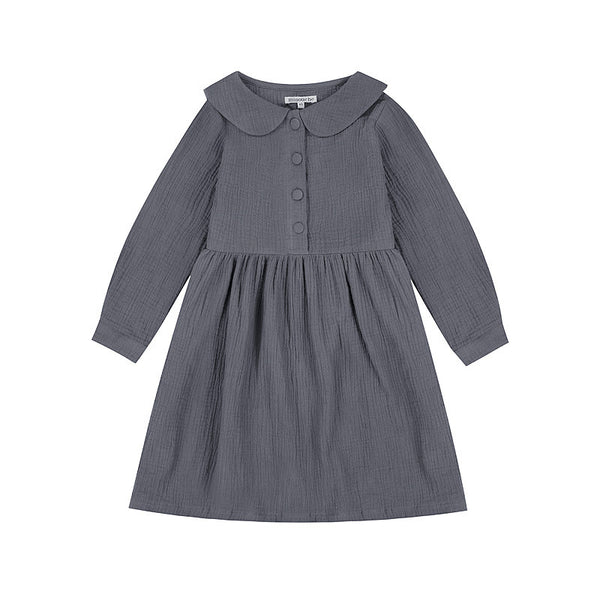 Adelaide Button Front Dress - Charcoal
