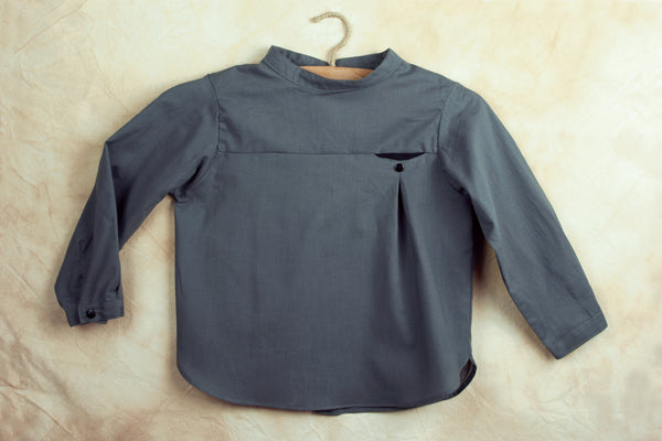 Grey Shirt With Mandarin Collar